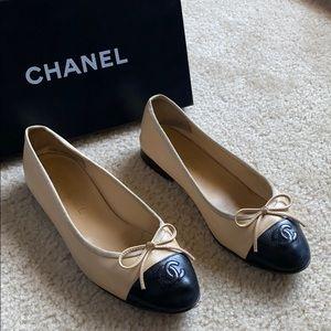 Worn, Chanel Beige & Black Ballerina Flats